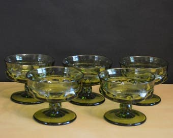 """Set of 6 Vintage Color Crown Green by Colony King's Crown Thumbprint Dishes, 3"""" Sorbet Sherbet Pudding Dessert, (5 pictured, 6 available)"""