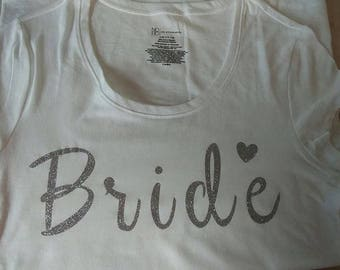 Bride T Shirt, comes in various sizes, colors, and fonts, made to order