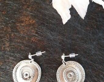 record Stud pierced earring