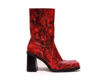 80s red leather faux snakeskin boots