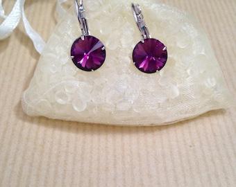 Amethyst color Swarovski crystal earrings