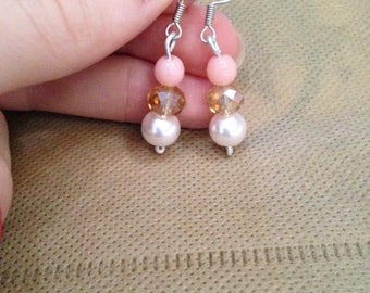 Swarovski Crystal and pink and gold earrings