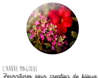 Cabochon 25 mm glass paste Fleur Cosmos ref 1281