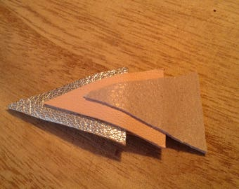 Shiny silver, white, pale pink triangles genuine leather hair clip off shiny