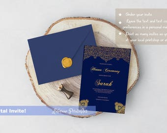 Henna Cremony Invitation, Henna party invite, henna party, bridalshower, muslim, Indian, hindu, invitation, Mehndi party