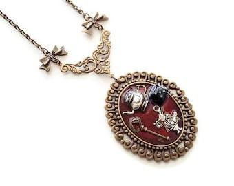 """Rabbit from Alice"" bronze necklace pendant"