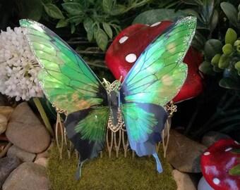 Green fairy Butterfly hair comb Absinthe