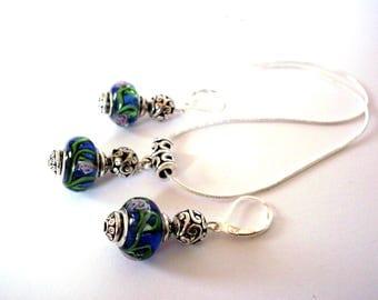 Vintage set 925 sterling silver, European beads blue patterned