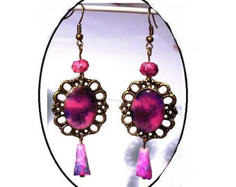 Vintage bronze, crystal glass beads earrings