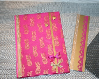 calendar 2017/2018 school and its pink and gold pineapple bookmark