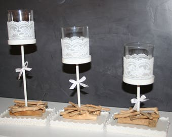 lace 3 Driftwood candle holders candlesticks