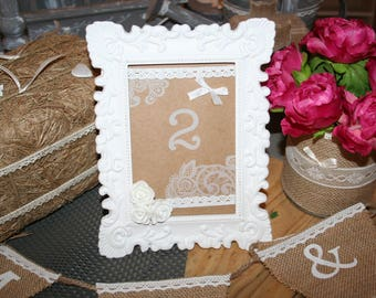 mark up burlap country wedding table number frame and lace country spirit