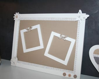 pele mele taupe and cream hearts magnetic photo Board