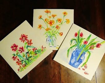 Greeting cards, bouquet flowers, watercolor, original set of 3