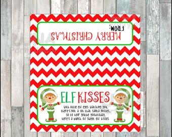 Elfs Kisses Treat Bags, Printable Christmas Bags Toppers, Christmas Elf Kisses Bag Toppers Instant download