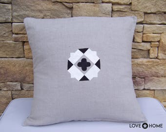 Beige linen cushion