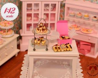 Miniature Cream Puffs & Eclairs Box - Chocolate, 1/12 Scale Dollhouse Desserts -- PAS101