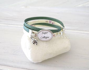 "for a ""super""colleague liberty bracelet, green and ivory, gift for colleague"