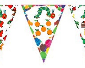 The Very Hungry Caterpillar Party Birthday Bunting Banner Flags. Supplies Lolly Loot Bag Cake Invitation Room Decoration Toppers Butterfly