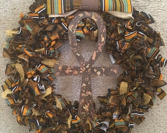 Handmade Wreath with Wooden Ankh and African Fabric
