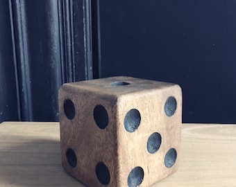 Chunky wooden dice paperweight