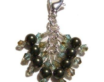 Dark Green Pearl Crystal Beaded Zipper Pull Pendant