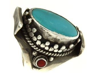 Ethnic ring 925 Silver Vintage Navajo turquoise and coral red, Native American, Ancient, ethnic jewelry Ring Design ring