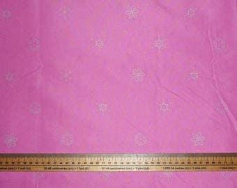 "Fabric pink theme ""SNOWFLAKES - frozen stars"" (NOEL)"