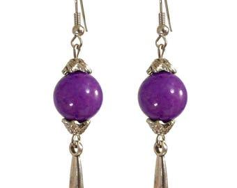 dangle drop earrings silver classic purple stone bead