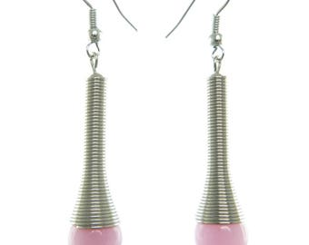 Women's dangle earrings drop elongated silver and pink pastel pale