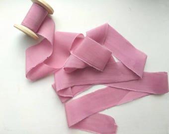 DUSTY PINK Hand Dyed Ribbon, Invitation Ribbon / Bouquet Ribbon / Bridal Supplies /Pink Silk Ribbon, Wedding Silk Cotton Ribbon, Pink cotton