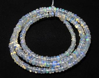 "Natural Ethiopian welo opal smooth beads 2-4 M.M. 16"" strand/necklace, welo opal roundel beads necklace, fire opal beads strand :-AJ22"