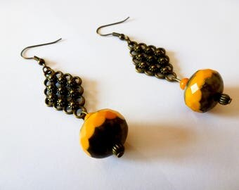Mustard yellow and bronze Vintage style earrings