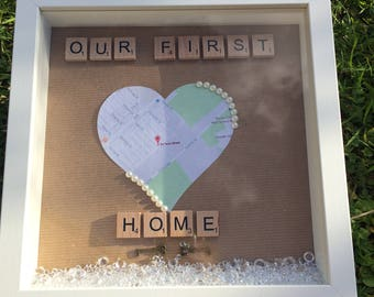 Personalised map our first home wedding gift frame