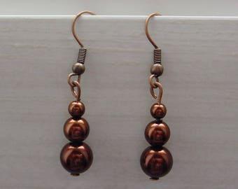 Brown Czech glass beads earrings