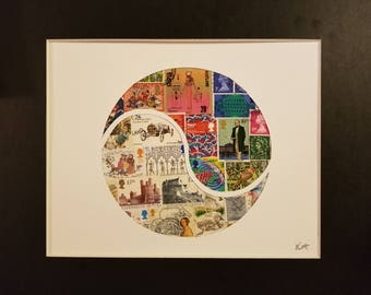 Postage Stamp Collage - Old English Yin Yang