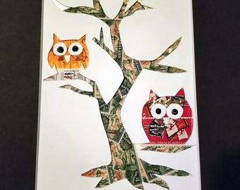 Postage Stamp Collage - Twin Owls