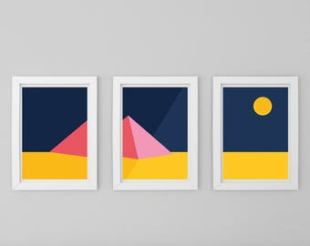 Pyramid Digital Illustration File / Set of 3 / Flat / Vector / Wall Art