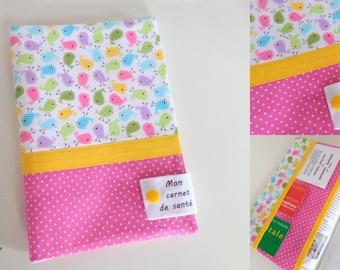 "personalized girl ""mini bird"" health book with inscription ""my health book"""
