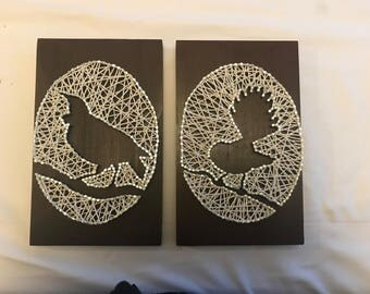 Fantail and Tui Bird String Wall Art
