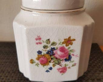 Vintage Lidded Sadler Floral Flower Ginger Jar/English