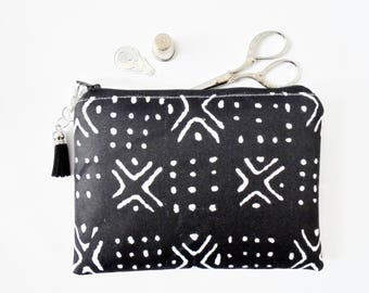 Mum gifts, Travel Pouch, bogolan, african, mud cloth, small zipper bag, travel bag, wallet pouch.