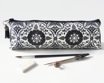 Art gifts, boho print, pencil pouch, brush bag, art gift, student gift, teacher gift, pen bag.