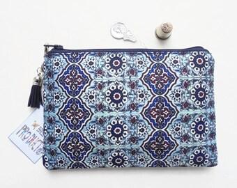 Mum gifts, Mock tile, Turkish, small zipper bag, travel bag, wallet, zipper pouch.