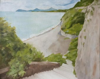 Original oil painting of the 'Steps to Whiterock. South Dublin. Ireland'