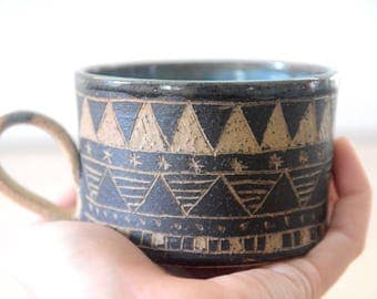Geometric Carved Coffee Mug/ Textured Aztec Mug/ Natural Clay textured Mug/ Geometric Coffee Cup/ Aztec Coffee Mug/ Aztec Tea Mug/