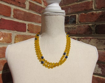 Yellow Jade + Lapis Napping Necklace - Genuine Gemstones & Pure Silk Thread