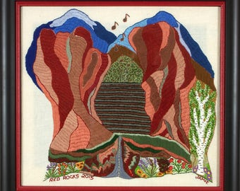 Hand Embroidered Red Rocks - 1