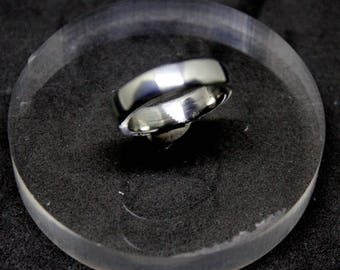 Polished steel ring size 56