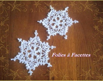 Christmas decorations: White snowflakes crochet cotton 2